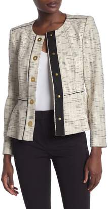 Donna Karan Woman Snap Front Button Peplum Hem Jacket