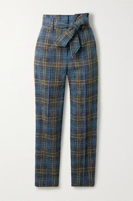 Veronica Beard Clerence Checked Woven Slim-leg Pants