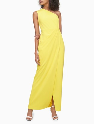 Calvin Klein Solid Ruched One Shoulder Gown