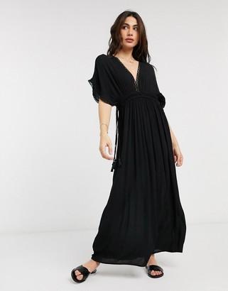 Accessorize lace trim maxi dress in black