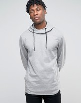 Jack and Jones Longline High Neck Hooded Sweat
