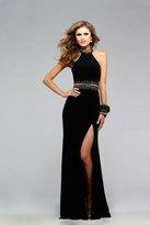 Faviana 7704 Jersey Halter Dress with Beaded Waist