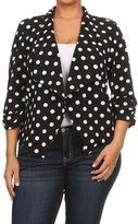 Fashions Stream Women's Side Shirring 3/4 Sleeves Print Blazer PLUS Jacket. MADE IN USA