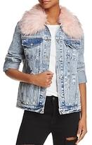 Honey Punch Faux Fur Collar Denim Jacket