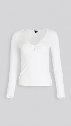Monrow Rib Twisted Front Top