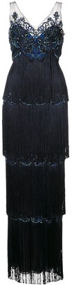 Marchesa Notte Embroidered Fringed Gown