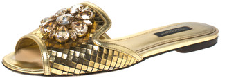 Dolce & Gabbana Metallic Gold Leather Crystal Embellished Bianca Flat Slides Size 36