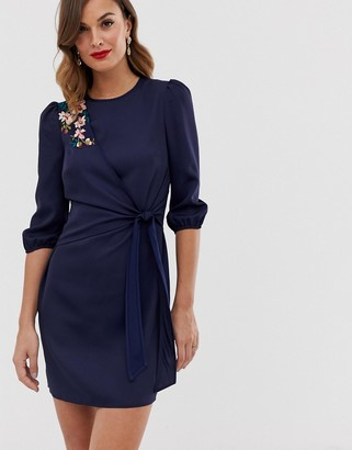 Little Mistress bell sleeve shift mini dress with embellished detail-Navy