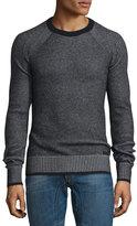 Belstaff Long-Sleeve Crewneck Ribbed Sweater, Black/Pale Gray Melange