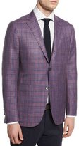 Ermenegildo Zegna Milano Easy Plaid Three-Button Wool-Blend Jacket, Pink/Blue