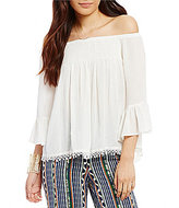 Chelsea & Violet Off-the-Shoulder Bell Sleeve Ruffle Top