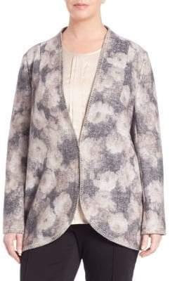 Basler Floral Open-Knit Long Cardigan