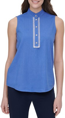 Tommy Hilfiger Lace-Trim Linen-Blend Sleeveless Blouse
