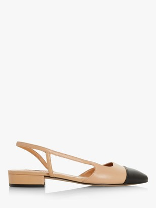 Dune Corallina Leather Pointed Block Heel Slingback Shoes, Camel