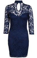 Quiz Navy Lace Choker Dress