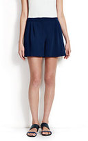 Lands' End Women's Pleated Shorts-Chambray Blue Denim
