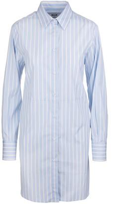 MSGM White And Blue Striped Midi Shirt Dress