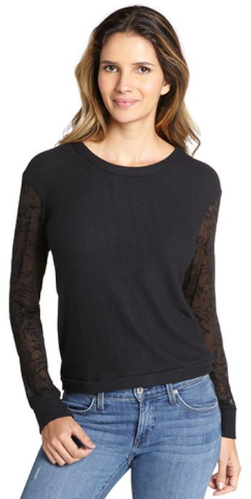LnA black knit burnout sleeves 'Fitz' sweater