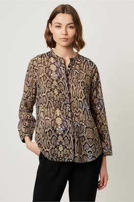 French Connection Cassa Snake Print Collarless Blouse