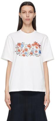 Victoria Victoria Beckham White Embroidered Floral Logo T-Shirt