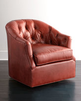 Horchow Rae St. Clair Red Leather Swivel Chair
