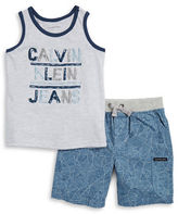 Calvin Klein Jeans Boys 2-7 Little Boys Logo Tee and Geometric Print Shorts Set