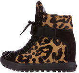 Miu Miu Ponyhair Studded Wedge Sneakers