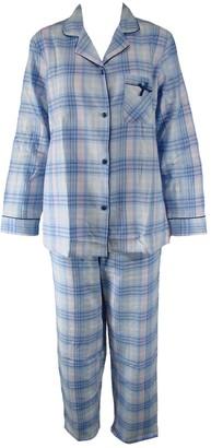 Damart Ex Long Sleeve Checked Winceyette Flannel Brushed Cotton Pyjama Set PJs Pyjamas. RRP: 25. Size 10-12 Blue
