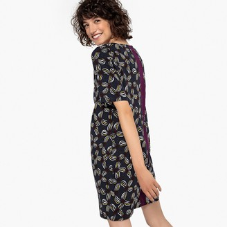 La Redoute Collections Floral Print Shift Dress with Contrasting Stripe at Back