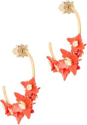 All We Are Zinnia Flower Hoop Earring - Orange