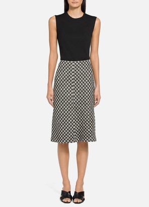St. John Textured Boucle Houndstooth Knit A-Line Skirt