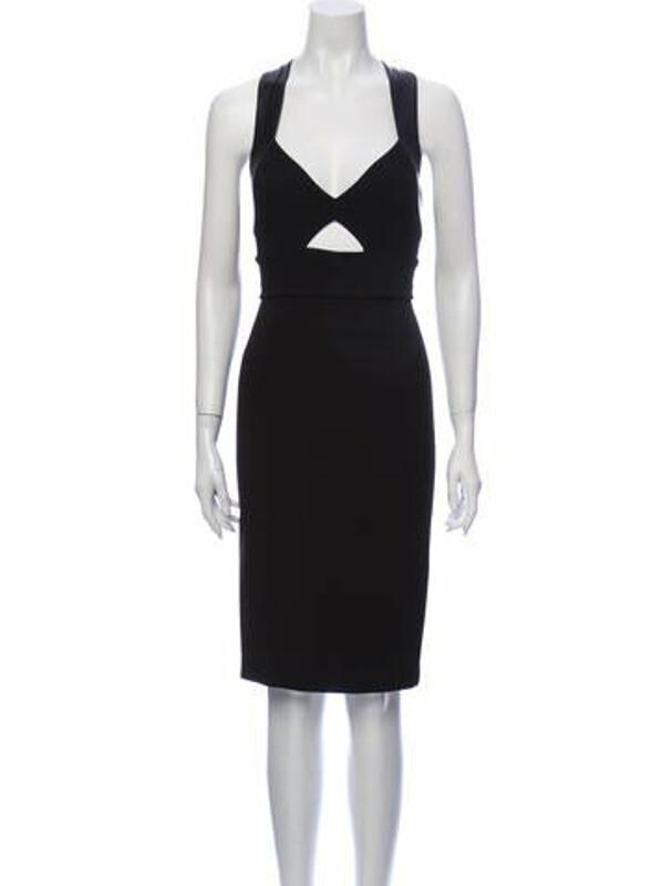 Thumbnail for your product : Alice + Olivia V-Neck Knee-Length Dress Black