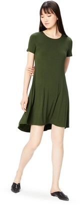 Daily Ritual Amazon Brand Women's Jersey Short-Sleeve Open Crewneck Dress