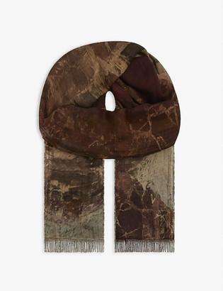 UMA WANG Fringed printed scarf