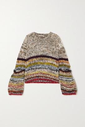 Stella McCartney - Button-detailed Striped Alpaca-blend Sweater - Gray