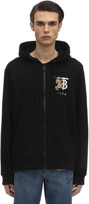 Burberry Logo Embroidery Zip-Up Jersey Hoodie