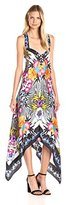 Nicole Miller Women's Bamboo Scarf Ottoman Silk High/Low Dress