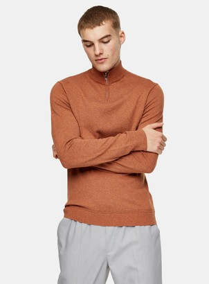 Topman CONSIDERED Rust Turtle Neck Zip Knitted Jumper