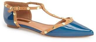 Halogen 'Olson' Pointy Toe Studded T-Strap Flat