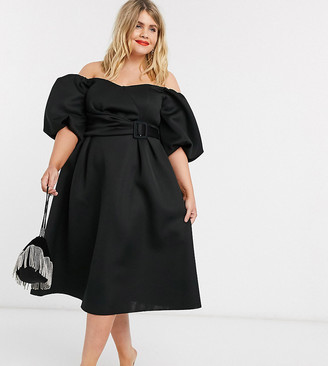 ASOS DESIGN Curve bardot puff sleeve midi prom dress with belt detail in black