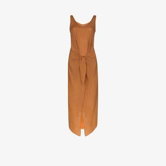 Anémone Tie Front Scoop Neck Midi Dress
