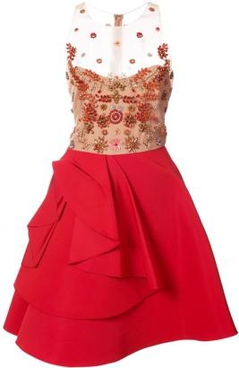 Marchesa Notte Sheer Embellished Ruffle Dress