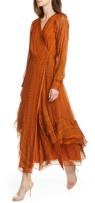 Diane von Furstenberg Mercy Long Sleeve Silk Chiffon Wrap Dress