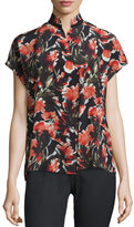 Lafayette 148 New York Eloise Short Dolman-Sleeve Floral-Print Silk Blouse, Black Multi