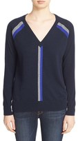Autumn Cashmere Women's Stripe V-Neck Cashmere Sweater