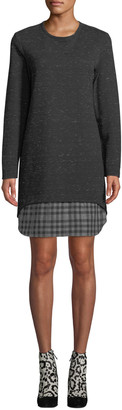 Finley Petite Madison Long-Sleeve Checkered-Layer Dress