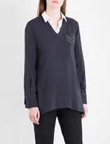 Brunello Cucinelli Chain-embellished stretch-silk shirt