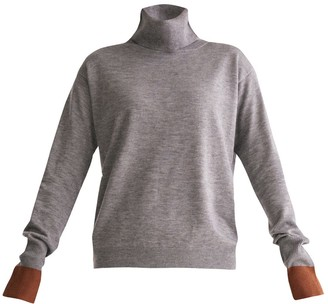 Paisie Roll Neck Knitted Top With Contrasting Cuffs In Grey & Brown