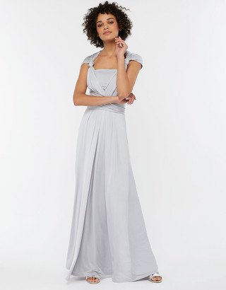 Monsoon Natasha Jersey Maxi Multiway Bridesmaid Dress Silver