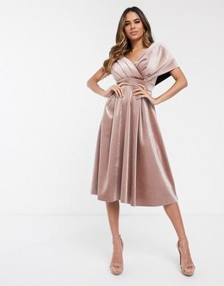 Asos Design DESIGN velvet fallen shoulder prom dress with tie detail-Beige